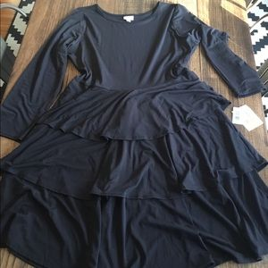 Black dress with tiered skirt NWT